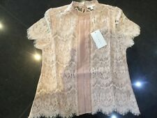 NWT Foxiedox New Ladies Large UK 14 Blush Pink Cotton Lace Short Sleeve Top