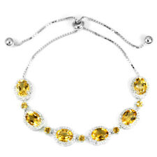 NATURAL AAA ORANGISH YELLOW CITRINE & CZ STERLING 925 SILVER BRACELET FREE SIZE