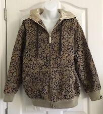 MECCA Women's Size Medium Varsity Cheetah Print Tapestry Knit Jacket