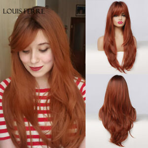 Red Brown Dark Root Synthetic Long Wavy Wigs with Bangs Colored Hair Cosplay Wig