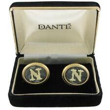 "Dante Cufflinks Mens Vintage Signed Cameo Initial ""N"""