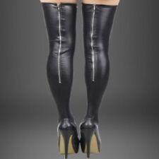 80043 - Metallic black polyester PVC back zip up stockings hold-ups One size