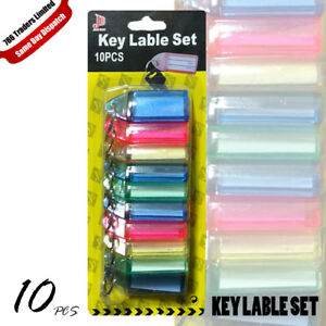 Key Chain Keychain with Label Key Ring ID Tag Multi Color Pack of 10 Keyrings