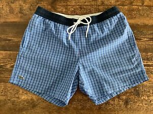 MENS LACOSTE SWIMSHORTS SIZE L BLUE CHECK NET LINING