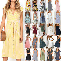 Womens Boho Holiday Strappy Button Pocket Dress Summer Midi Swing Sundress