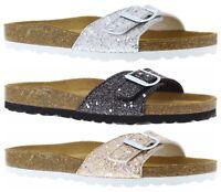 ADESSO KENDAL GLITTER SPARKLE BUCKLE MULE SINGLE STRAP FLAT SANDAL COMFORT SOLE