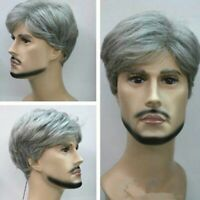New Fashion Short Silver Grey Wigs For Men Natural Hair Cosplay Wig + Wig Cap