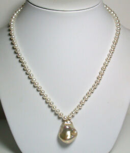 20x25mm AAA quality metallic pink-gold, 5mm freshwater pearl & 9ct gold necklace