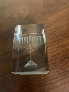 Hanukah Menorah in a Glass Cube Paper Weight 2.25 x 1.5 Inches.