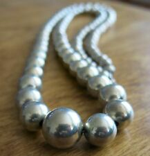 """Vintage RARE American Indian Graduated Sterling Silver Bead NECKLACE 30"""" 1970s"""