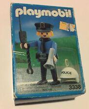 PLAYMOBIL # 3338 Police Man in worn box  MADE IN MALTA 1991 VINTAGE