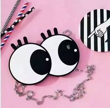 3D Cute Cartoon Big Eyes Silicone Purse W Shoulder Straps Case For iPhone 7