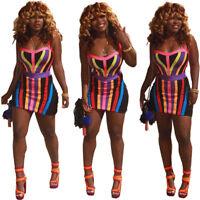 Women spaghetti strap stripes bodycon clubwear party casual mini dress
