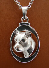Sterling Silver Pit Bull Terrier AM Staff Head Study On A Vertical Oval Frame