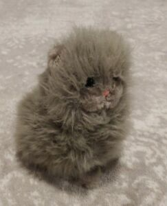 "Vintage Dakin Gray Persian Kitty Cat Stuffed Plush 1983 11"" Green Eyes Fluffy"