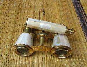 Binocular Mother of Pearl Lorgnette Binocular Brass Antique  Beast Gift Item