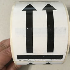 """Roll 500 LabelMaster This Side Up BLACK ARROWS Stickers 3-1/4"""" x 4-1/2"""""""
