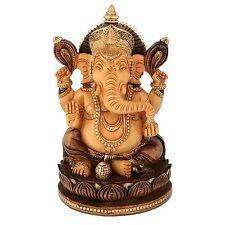 "8"" Wooden Ganesh Statue Hand Carved Painted Hindu Elephant God Ganesha Lord Idol"