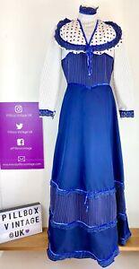 1970s Size Amazing 10 Blue White Prairie Bridgerton Victorian Style Maxi Dress