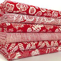 Red & white floral print 6 piece fat quarter fabric bundle 100% cotton