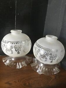 VINTAGE  HURRICANE ETCHED GLASS LAMP SHADE LIGHT GLOBES FROSTED RUFFLED BOTTOM