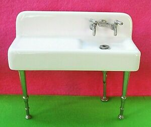 Dollhouse Miniature KITCHEN SINK White Porcelain-Metal Fixtures FARMHOUSE