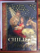 """Boxed Cards Navity Christmas 7"""" x 5"""" New 16 Cards by Punch Studio New"""