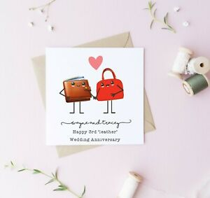 Personalised 3rd wedding anniversary card, leather, husband, wife couple love