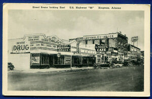 Kingman Arizona az Street Scene on US Highway Route 66 old postcard