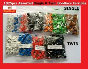 1025 Pcs Bootlace Ferrule French Kit SINGLE DOUBLE Entry Twin Cord End 0.5-10mm²