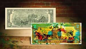 AMERICAN PHAROAH TRIPLE CROWN Rency / Banksy Art $2 Bill Signed by Artist #/215