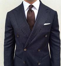 Hombre Azul Marino Rayas Trajes de Diseño Boda Novios Cena (Abrigo + Pantalones