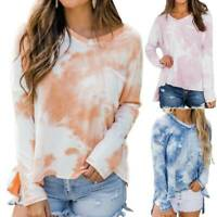 Women's Tie Dye V-Neck Loose Long Sleeve Blouse Tops Casual Pullover T-shirts