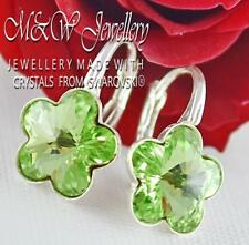 925 Sterling Silver Earrings Crystals from Swarovski® 10mm FLOWER Peridot F