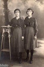 BM168 Carte Photo vintage card RPPC Femme woman mode fashion soeur même vetement