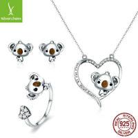 Cute Koala Bear Real 925 Sterling Silver Stud Earrings Necklace Ring Jewelry Set
