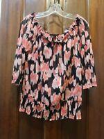 INC size M black / pink semi-sheer pullover blouse - wear on or off shoulder