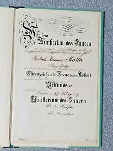 SRAR! Urkunde Instrumentenmeister Julius Blüthner Piano Leipzig Ministerium 1909