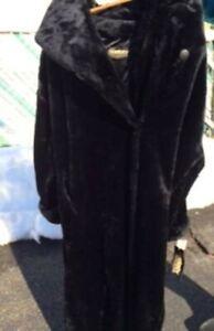 Monterey Fashions Long Hood Beaver Coat - Black - Size Large - BRAND NEW