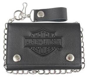 Harley-Davidson® Mens Embossed Tri-Fold Black Leather Chain Wallet XML3514-BLACK