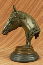 Hand Made Large Bronze Sculpture - Horse Head Bust - Solid Marble Base Figurine