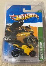 2012 Hot Wheels #52 TREASURE HUNT 2/15 DUCATI 1098 Motorcycle Yellow Black RARE