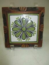 "Mexican Hand Carved Wood Frame and Hand Painted Tile Footed Trivet 5-3/8""x5-1/2"""