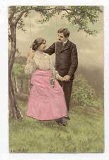 VICTORIAN COUPLE IN SWING SILK APPLIED POSTCARD PC2689