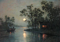 Oil painting river landscape at moon night with canoe village no framed