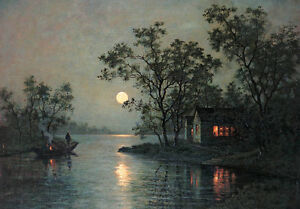 Oil painting river landscape at moon night with canoe village hand painted art