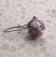 easter bunny rabbit phone charm Handmade Silver Fimo