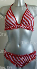New Red & White Glitter Bra & Briefs 10 - 12 No Wire Halter Neck Bra