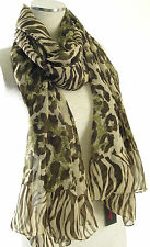 NWT Auth ECHO Design Chiffon Zebra Leopard Print Wrap Scarf - Green/Brown