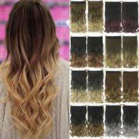 Curly Clip in Hair Extensions One Piece Long 3/4 Full Head Ombre Wavy Thick New